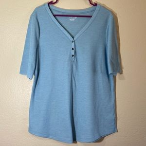Plus Size Waffle Top Button Front Blouse Stretch